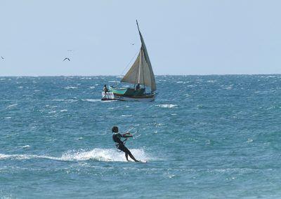 Kitesurfing with Fishermen